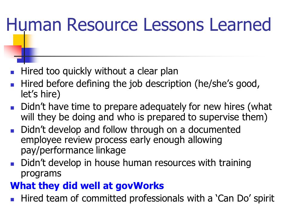 Human Resource Lessons Learned