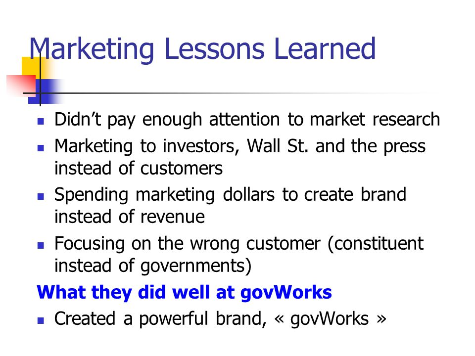 Marketing Lessons Learned