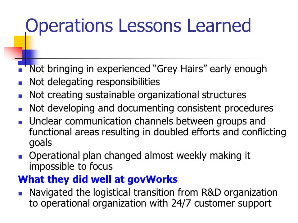 Operations Lessons Learned