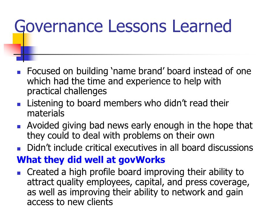 Governance Lessons Learned