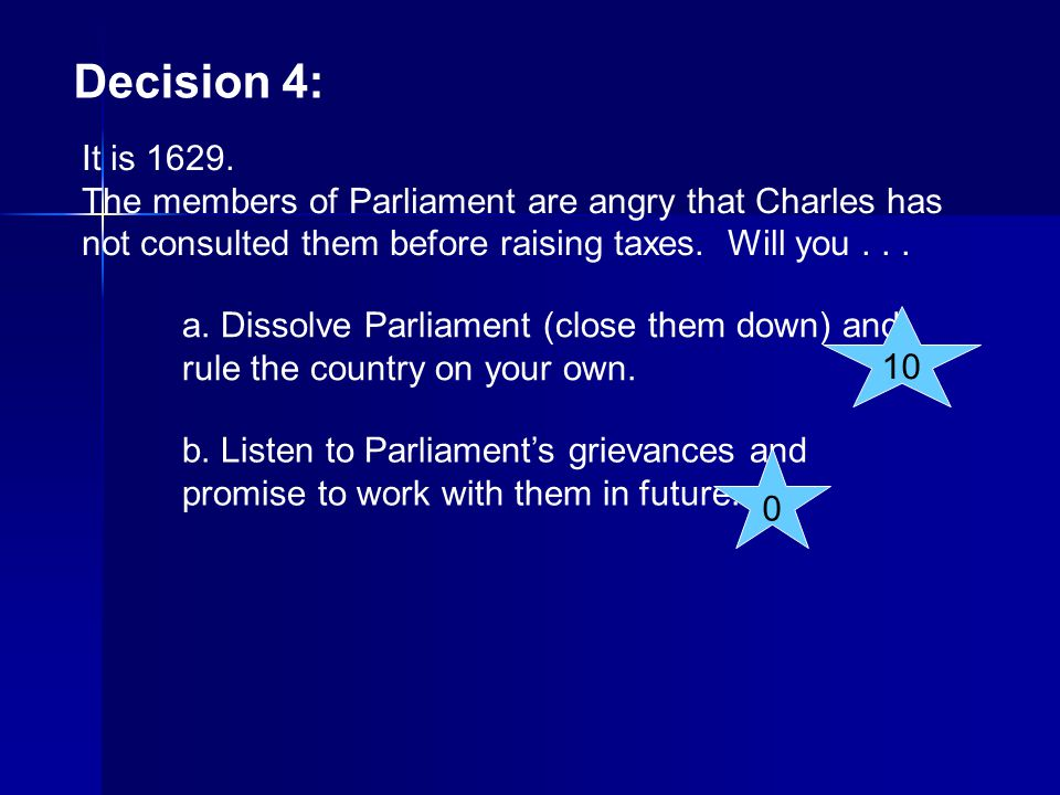 Decision 4: It is 1629. The members of Parliament are angry that Charles has not consulted them before raising taxes. Will you . . .