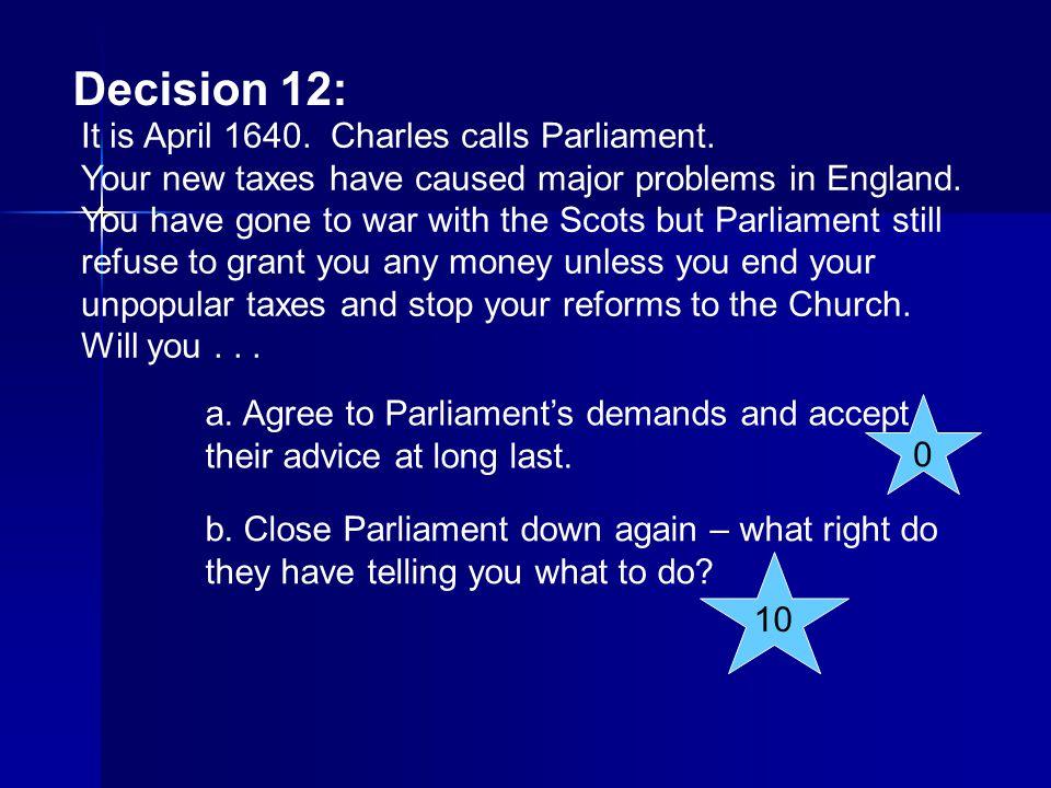 Decision 12: It is April 1640. Charles calls Parliament.