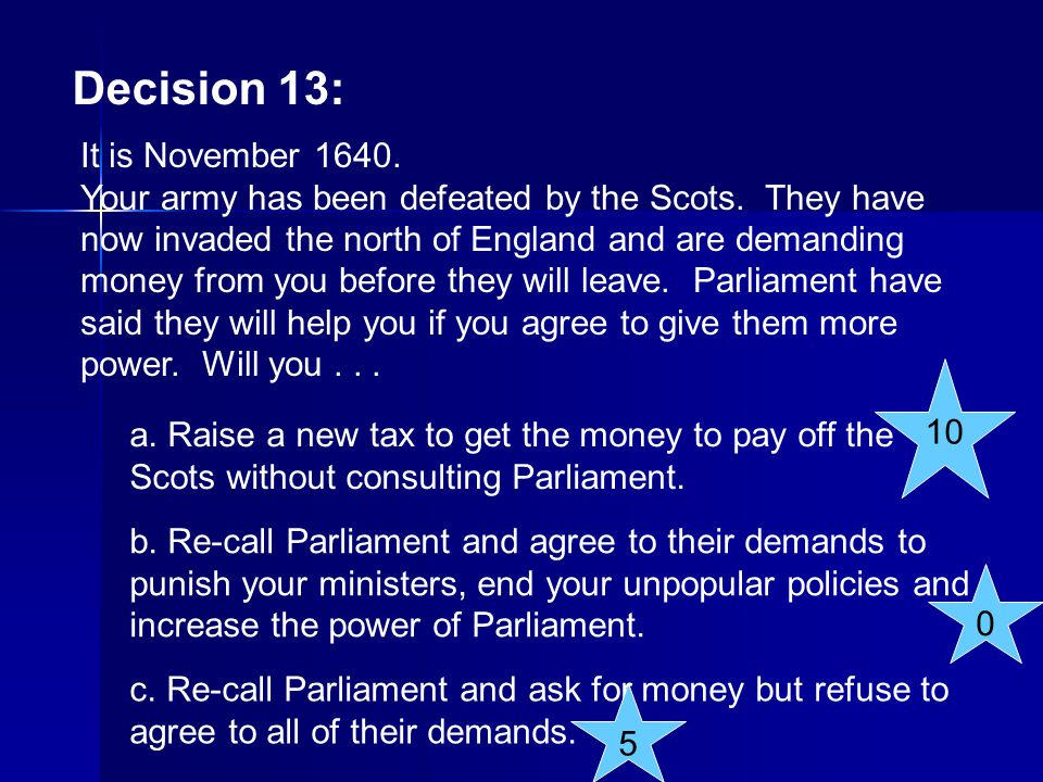 Decision 13: It is November 1640.