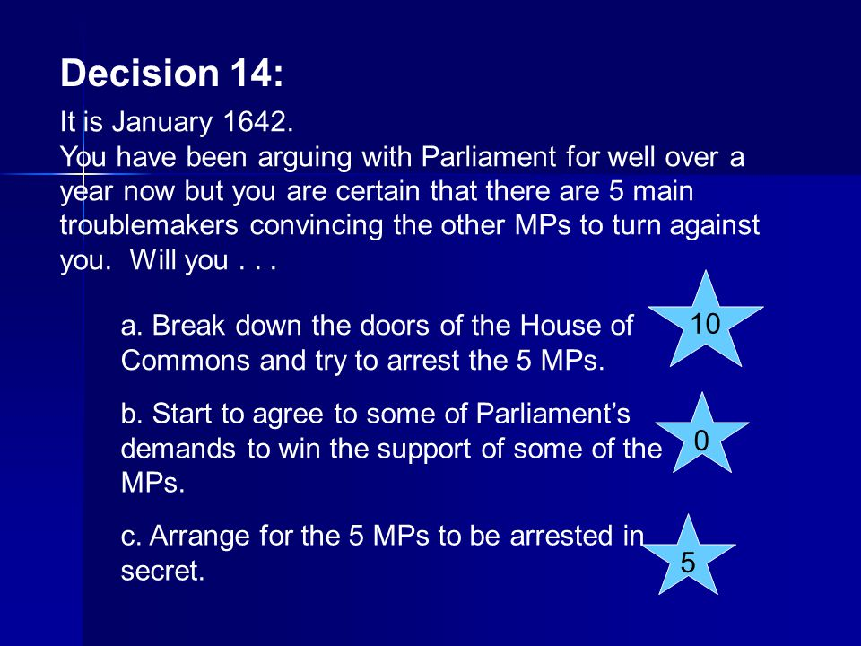 Decision 14: It is January 1642.