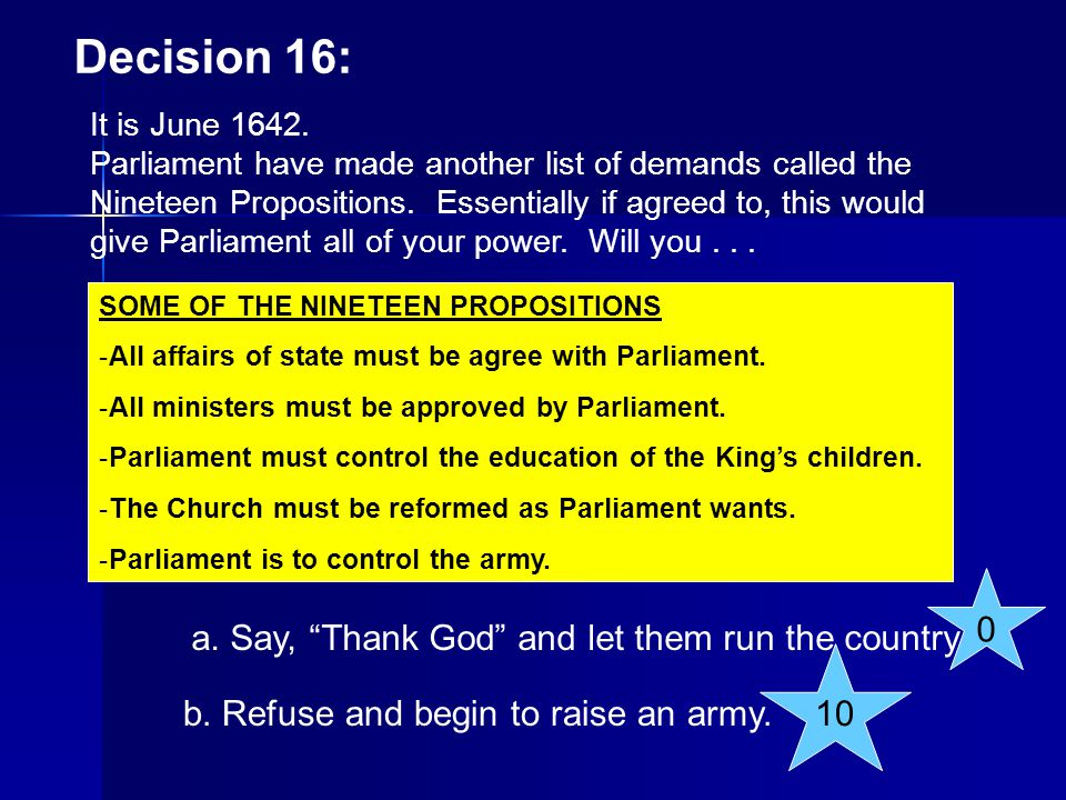 Decision 16: a. Say, Thank God and let them run the country. 10