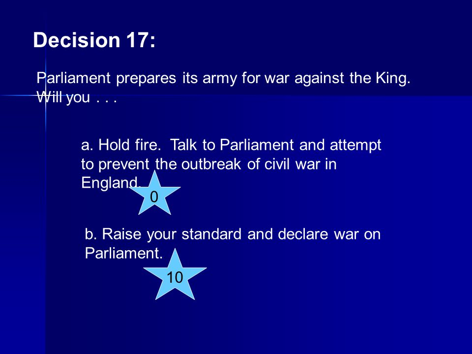 Decision 17: Parliament prepares its army for war against the King. Will you . . .
