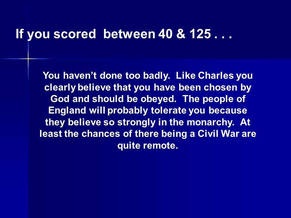 If you scored between 40 & 125 . . .
