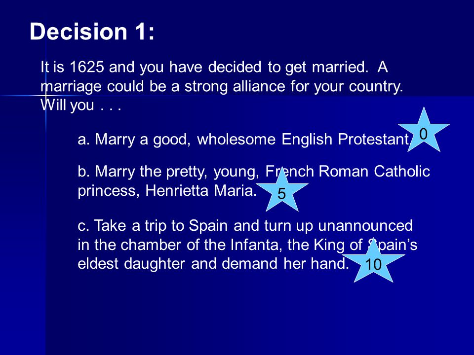 Decision 1: It is 1625 and you have decided to get married. A marriage could be a strong alliance for your country. Will you . . .