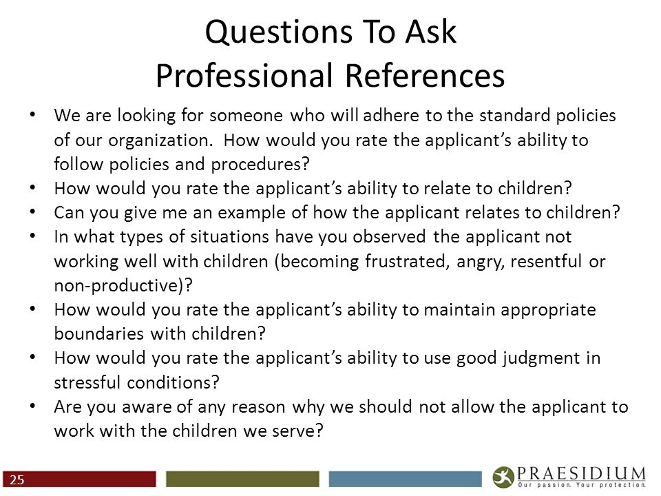 Questions To Ask Personal References