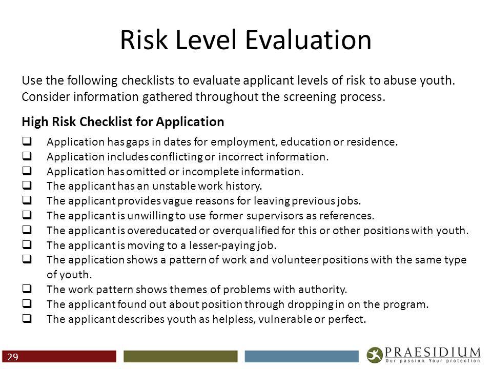 Risk Level Evaluation (Cont.)