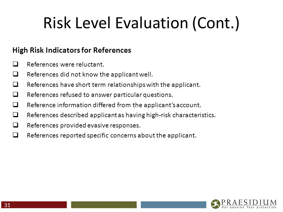 Risk Level Evaluation (Cont.)