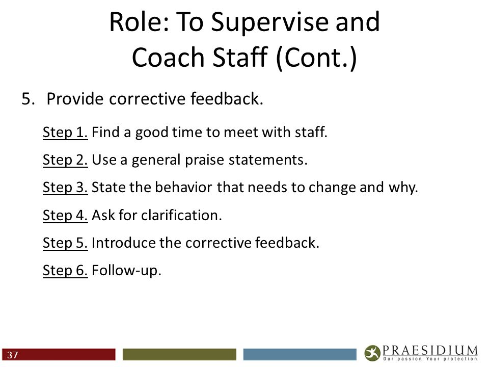Role: To Supervise and Coach Staff (Cont.)