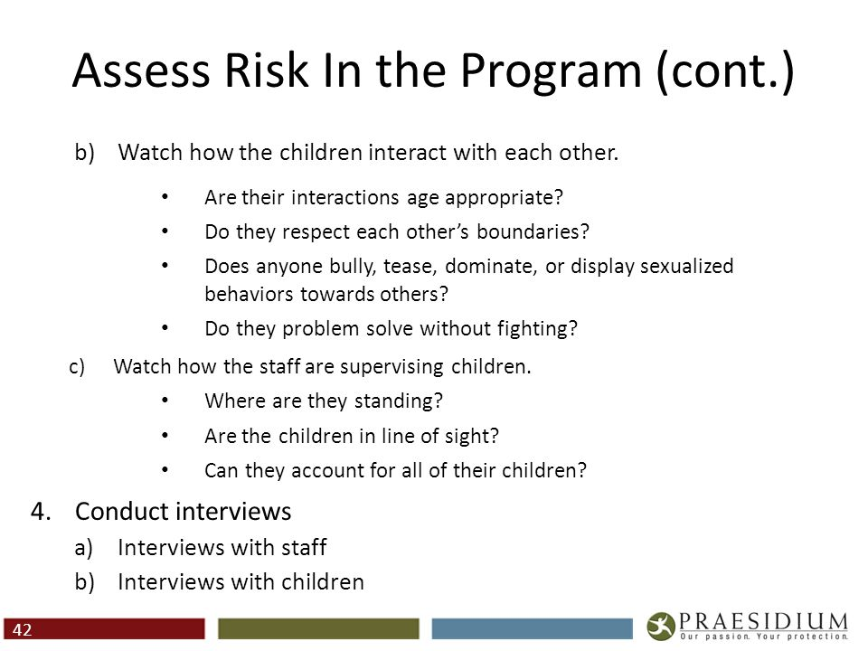 Assess Risk In the Program