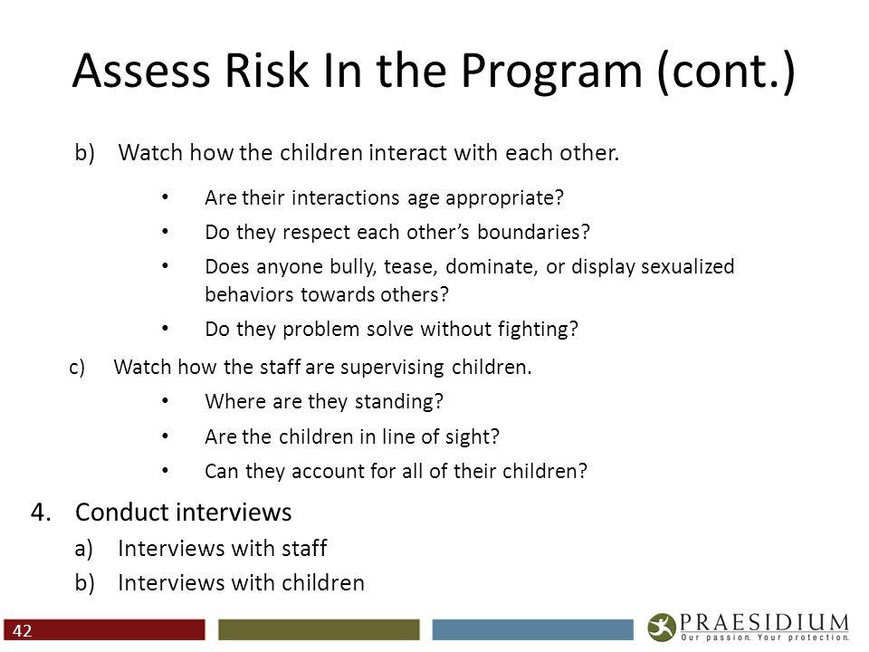Assess Risk In the Program
