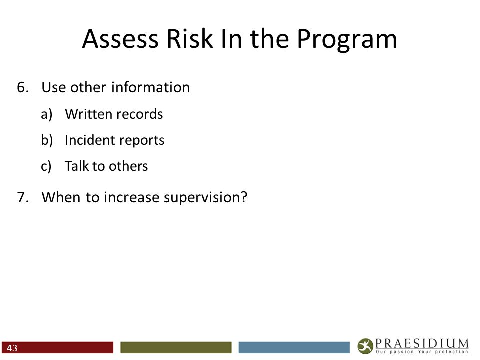 Assessing for Specific Risks