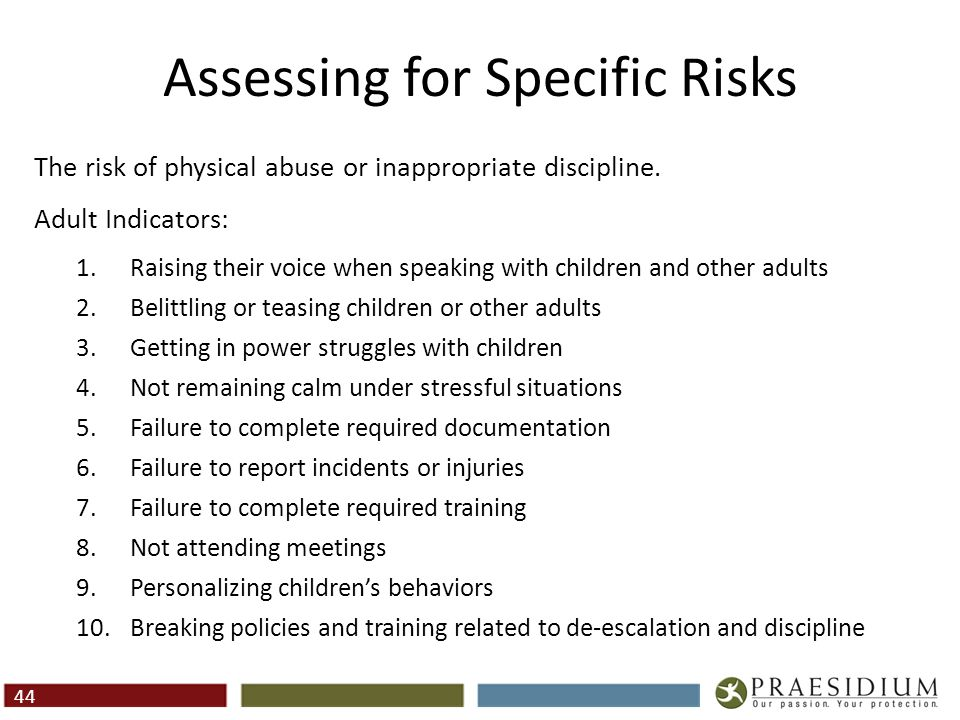 Assessing for Specific Risks (Cont.)