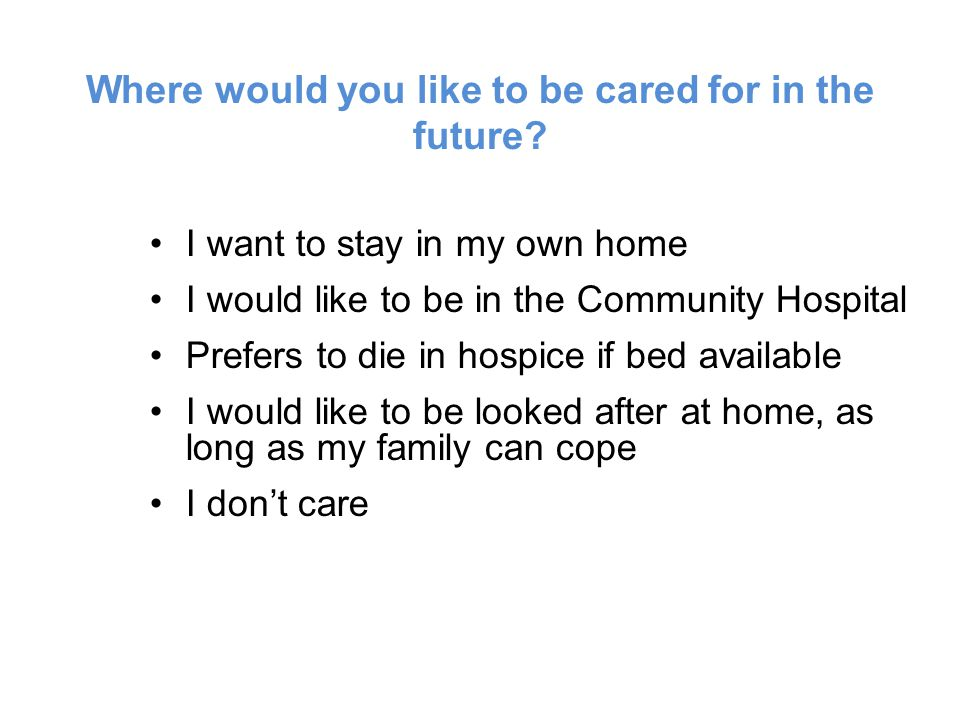Where would you like to be cared for in the future