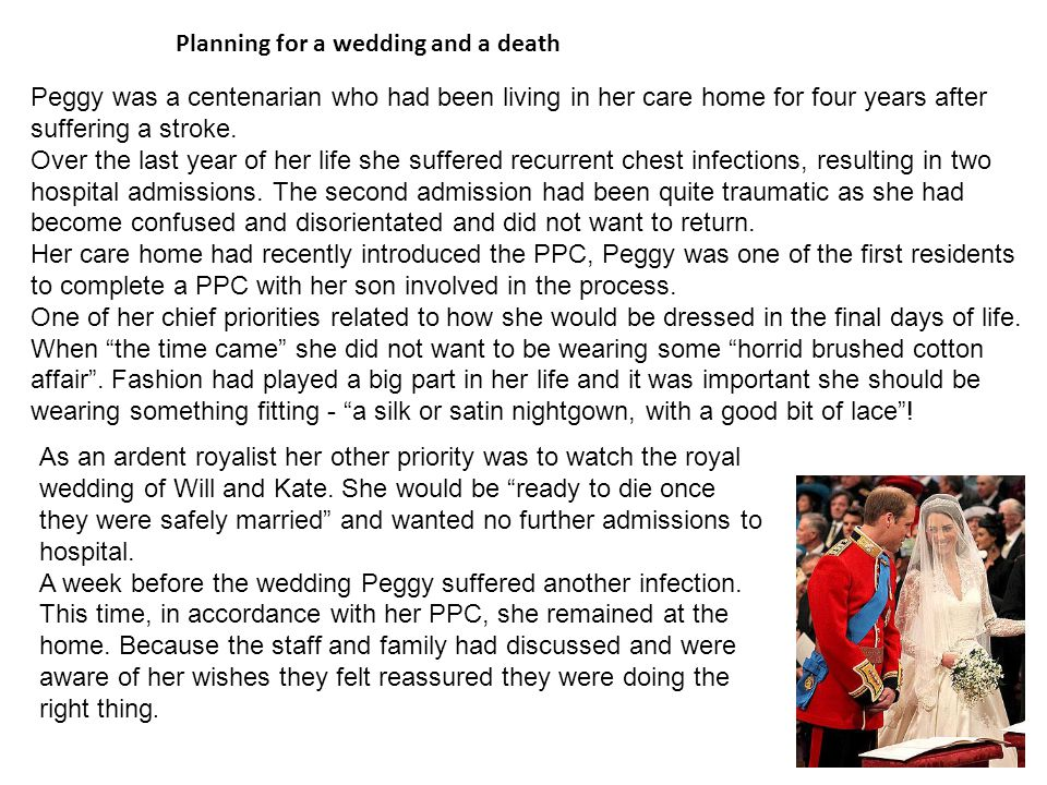 Planning for a wedding and a death
