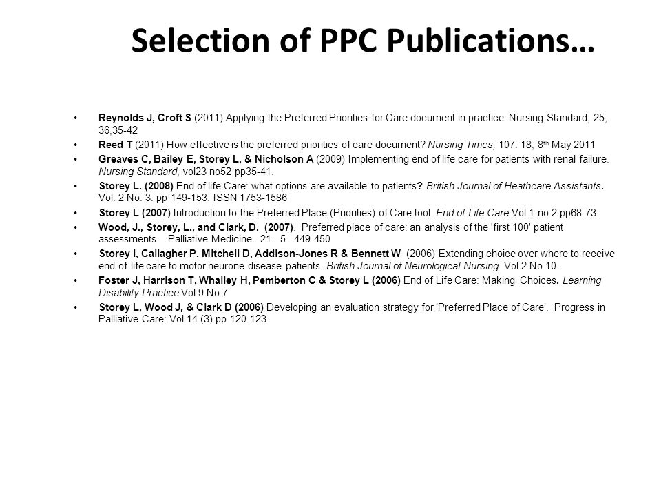 Selection of PPC Publications…