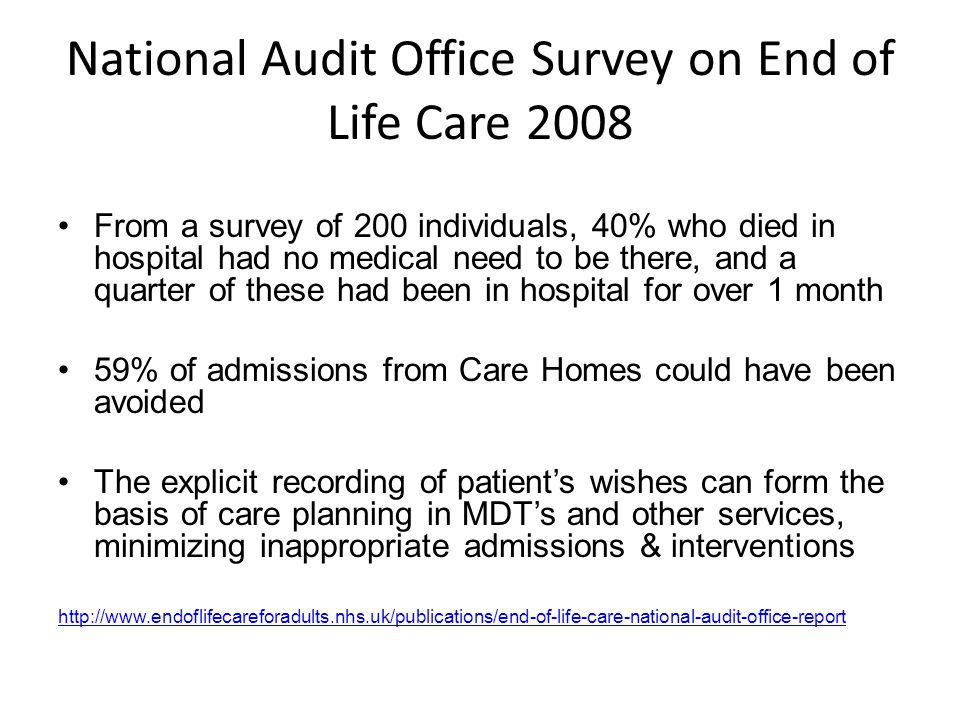National Audit Office Survey on End of Life Care 2008