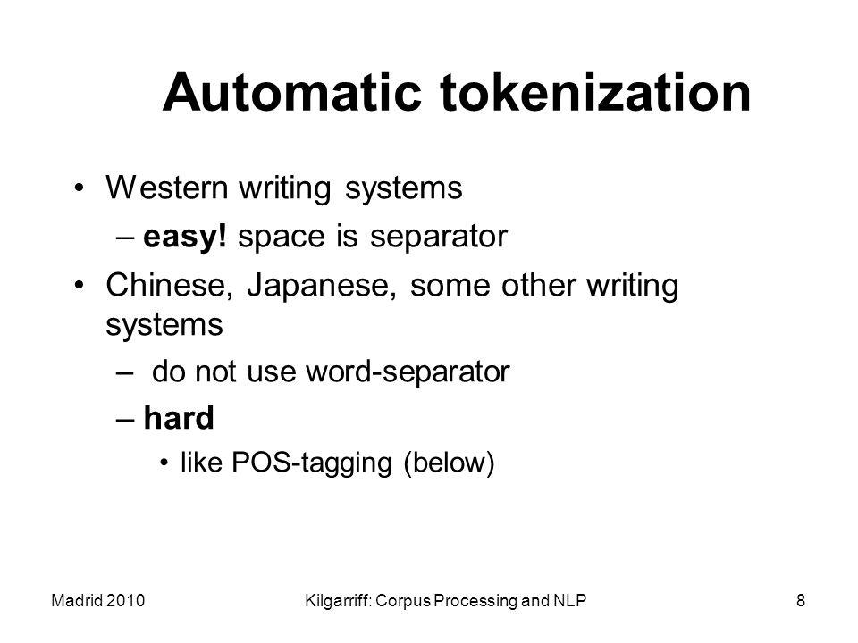 Automatic tokenization