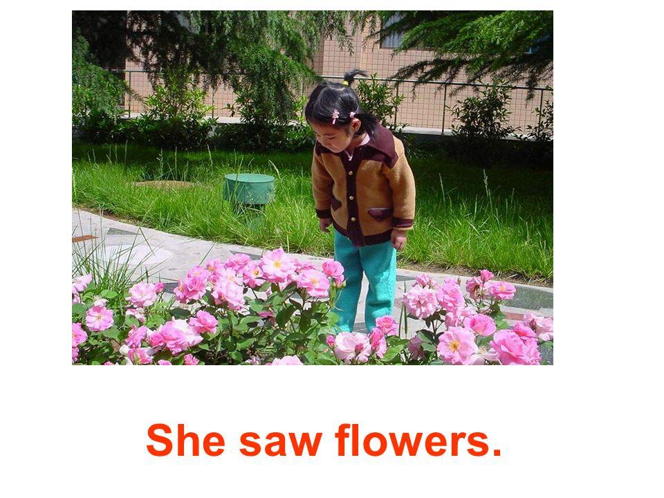 She saw flowers.