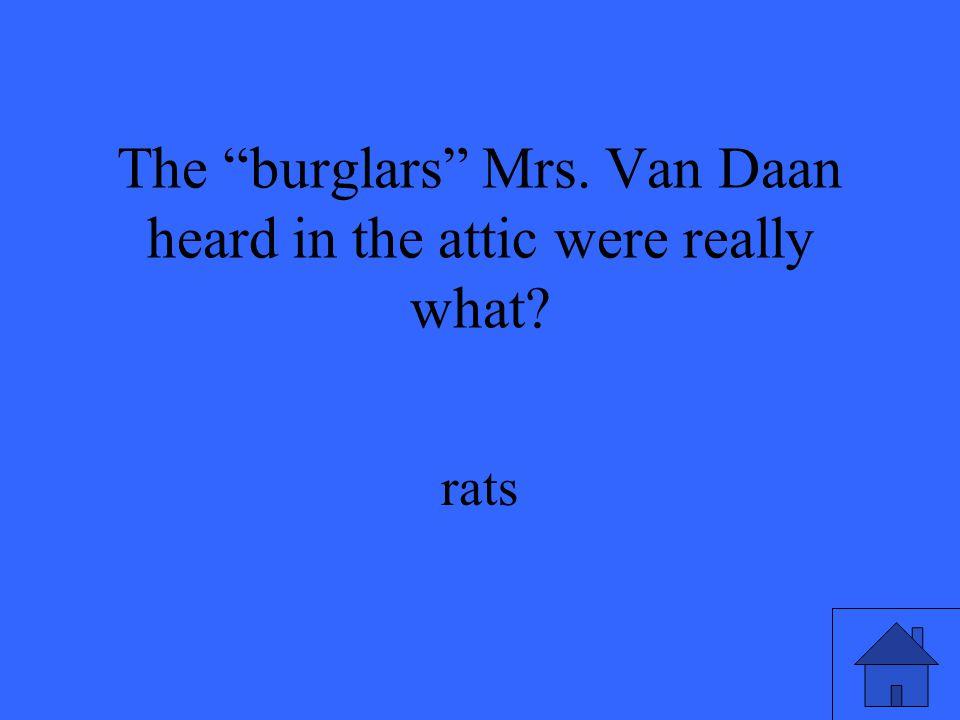 The burglars Mrs. Van Daan heard in the attic were really what