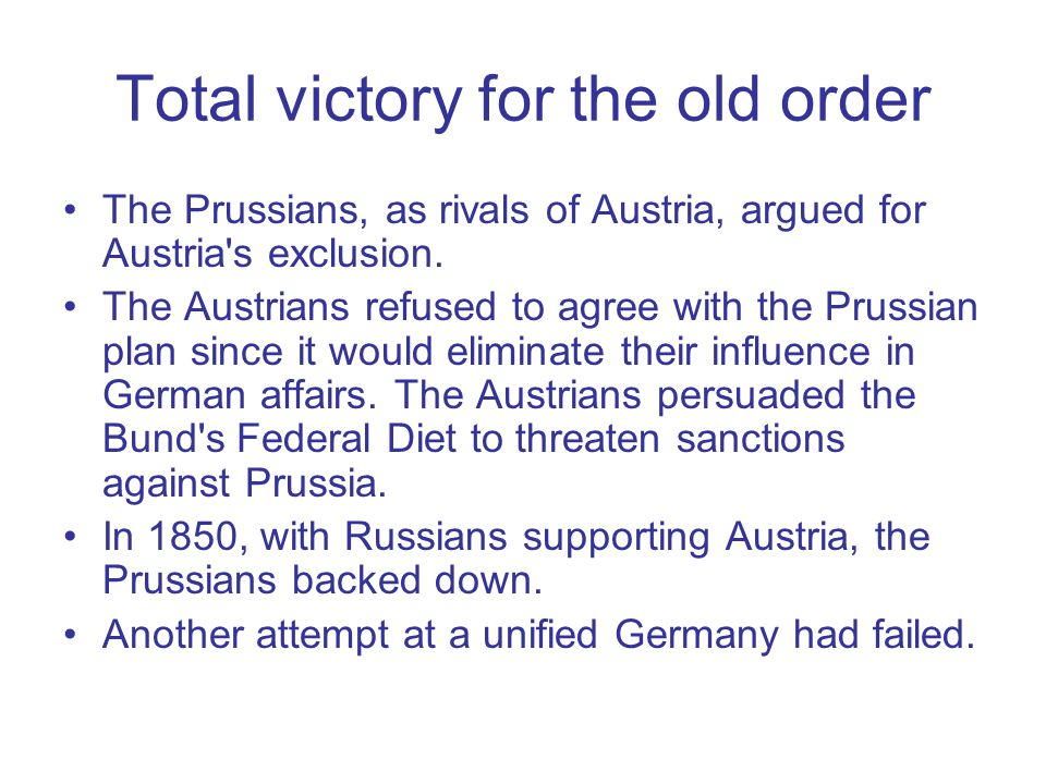 Total victory for the old order