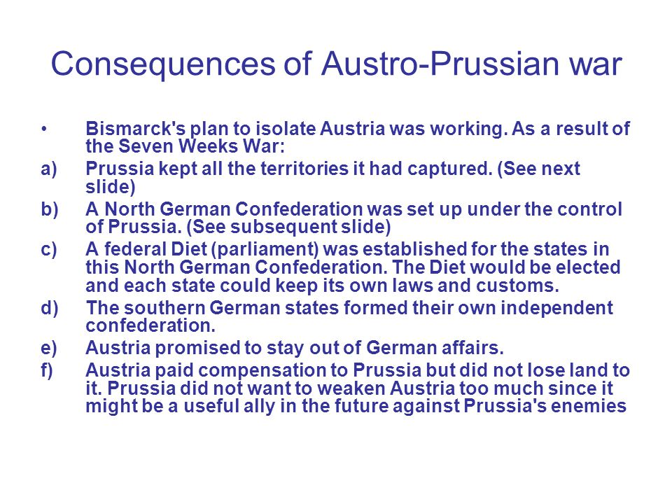 Consequences of Austro-Prussian war
