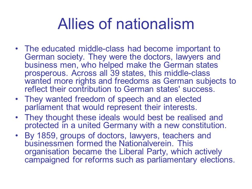 Allies of nationalism