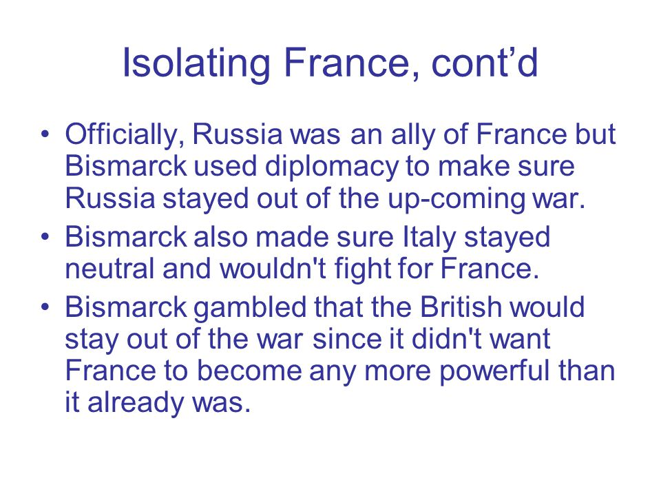 Isolating France, cont'd
