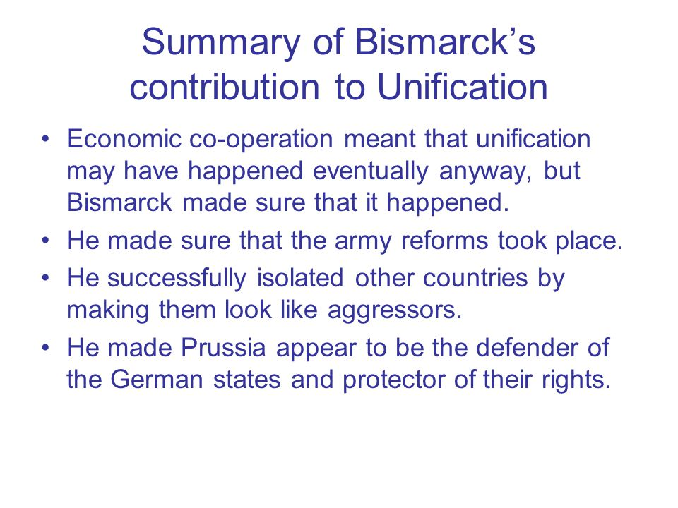 Summary of Bismarck's contribution to Unification