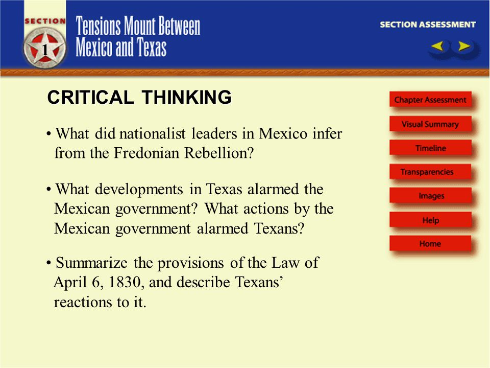 1 CRITICAL THINKING. What did nationalist leaders in Mexico infer from the Fredonian Rebellion