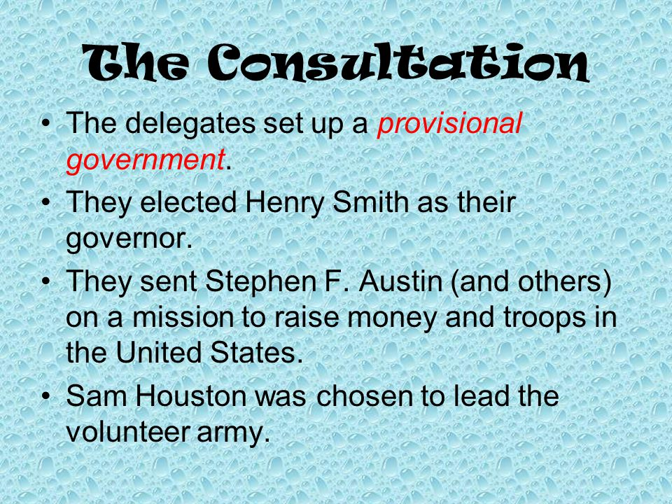 The Consultation The delegates set up a provisional government.