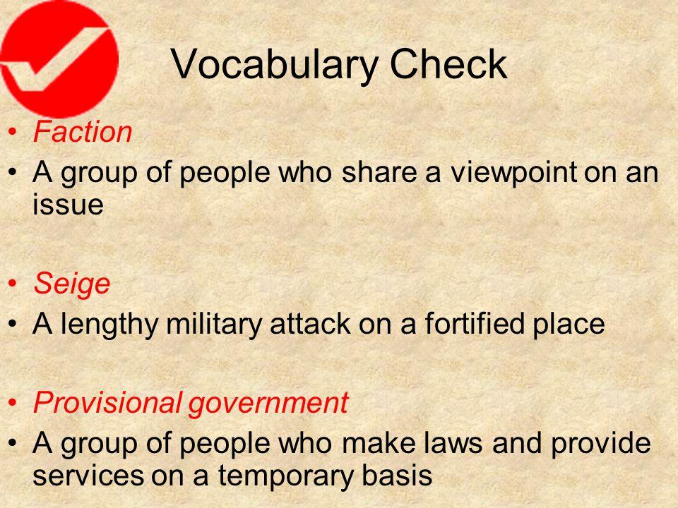 Vocabulary Check Faction