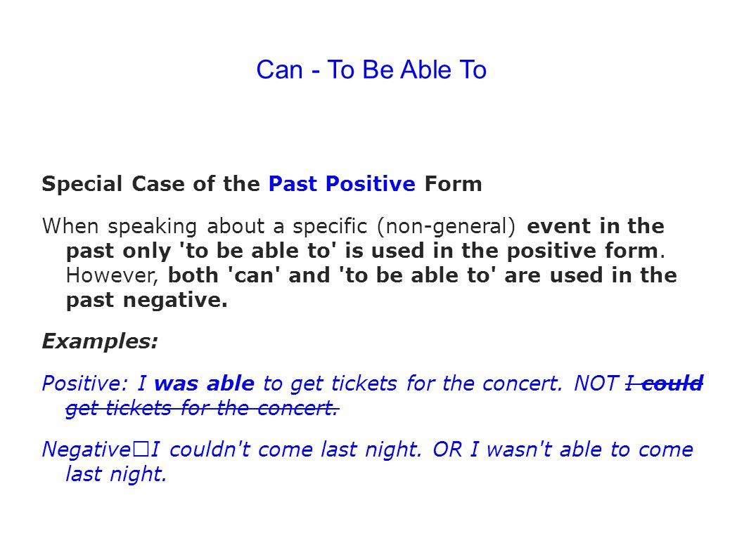 Can - To Be Able To Special Case of the Past Positive Form