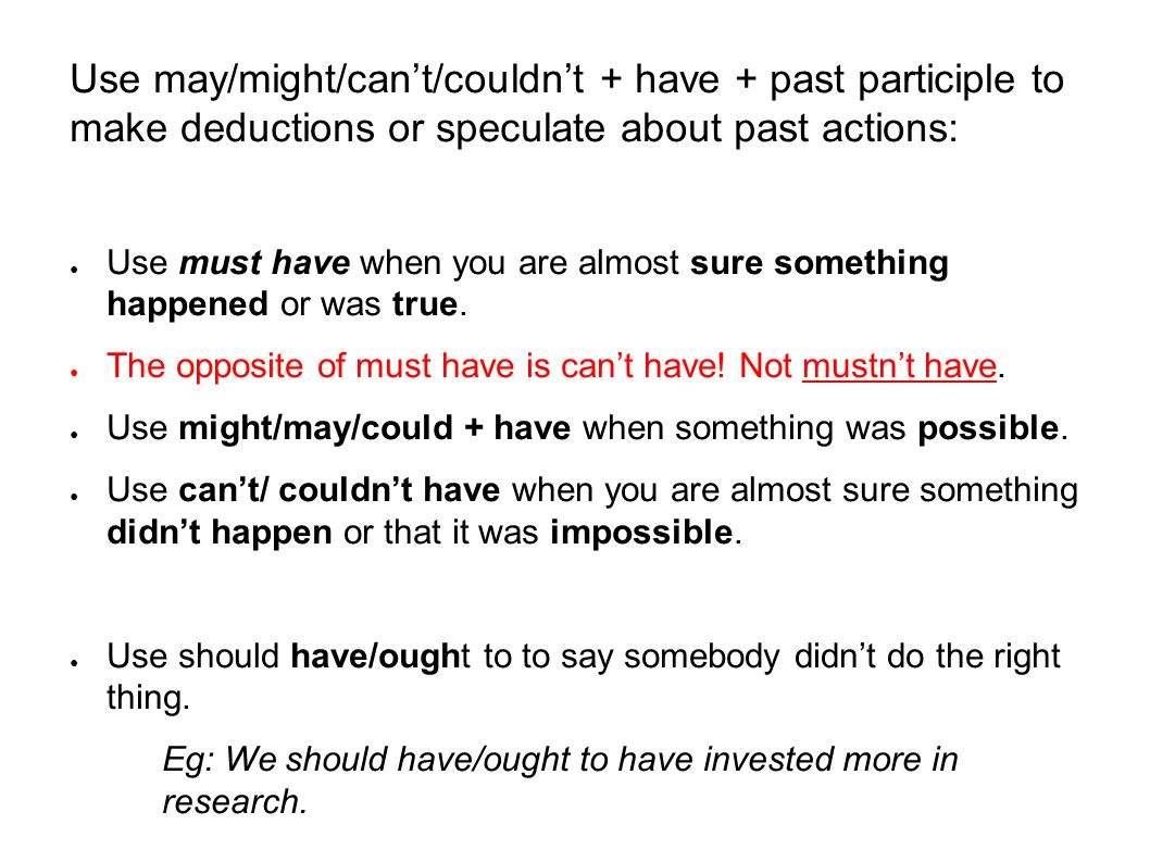 Use may/might/can't/couldn't + have + past participle to make deductions or speculate about past actions: