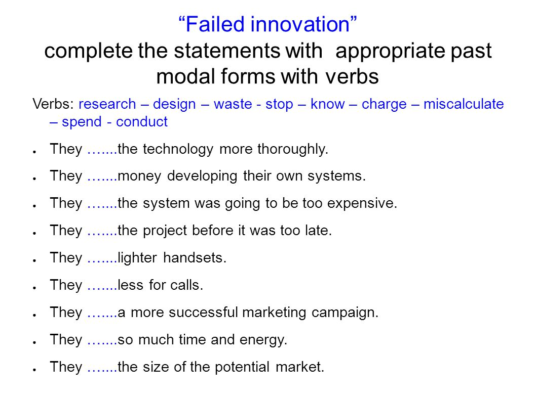 Failed innovation complete the statements with appropriate past modal forms with verbs