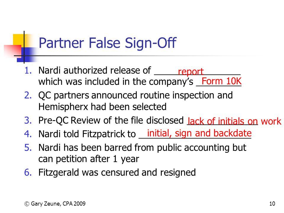 Partner False Sign-Off