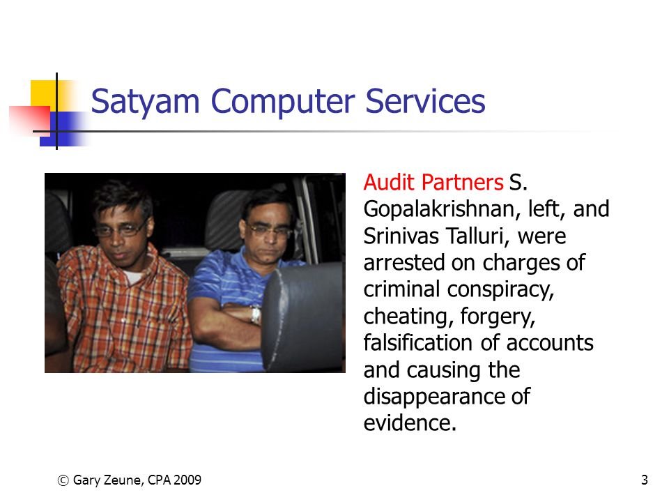 An analysis of the importance of auditing in the fraud case of satyam computer services