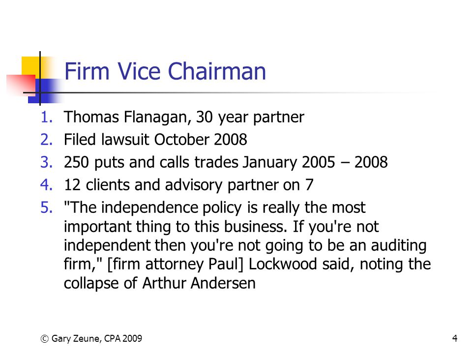 Firm Vice Chairman Thomas Flanagan, 30 year partner