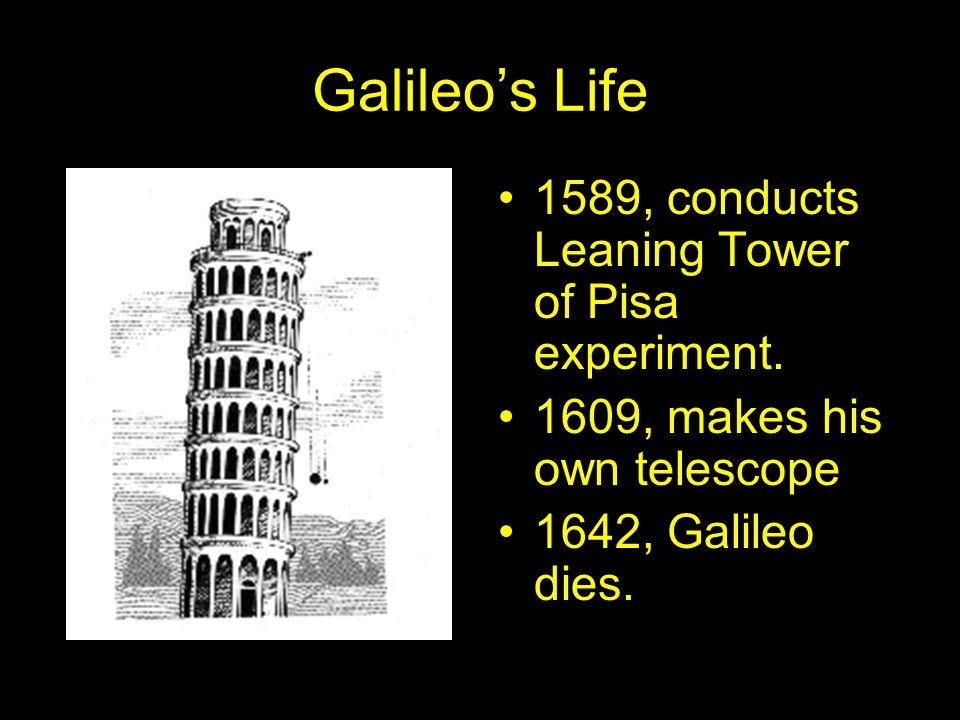 Galileo's Life 1589, conducts Leaning Tower of Pisa experiment.