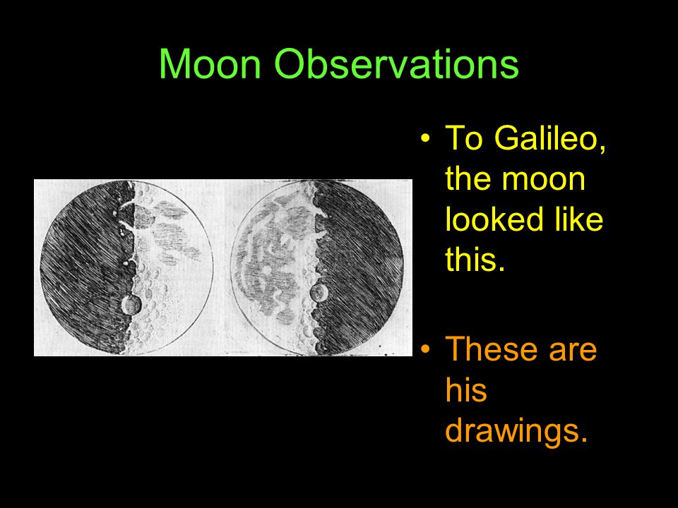 Moon Observations To Galileo, the moon looked like this.