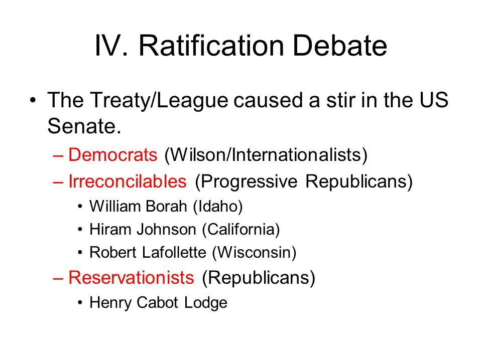 IV. Ratification Debate