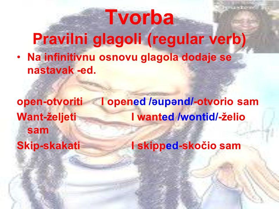 Tvorba Pravilni glagoli (regular verb)