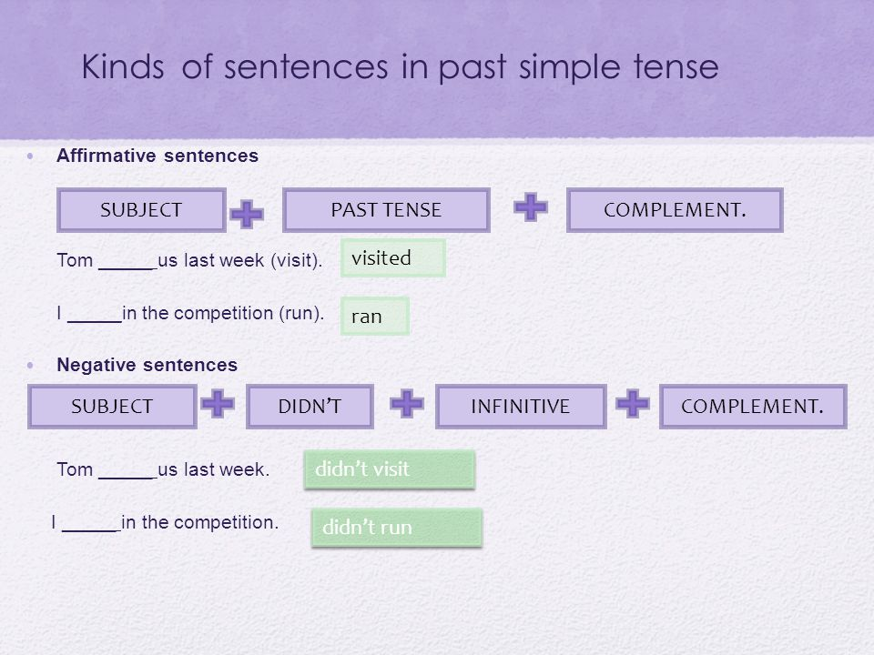Kinds of sentences in past simple tense