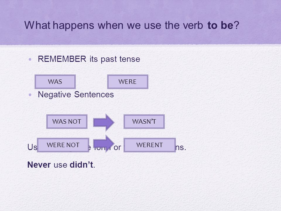 What happens when we use the verb to be