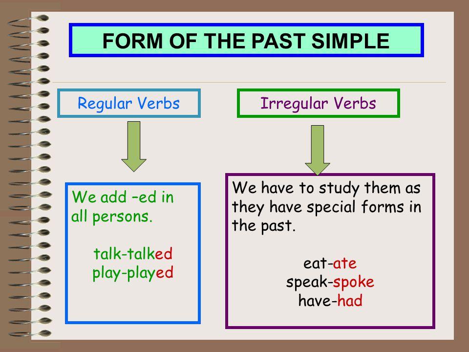 FORM OF THE PAST SIMPLE Regular Verbs Irregular Verbs