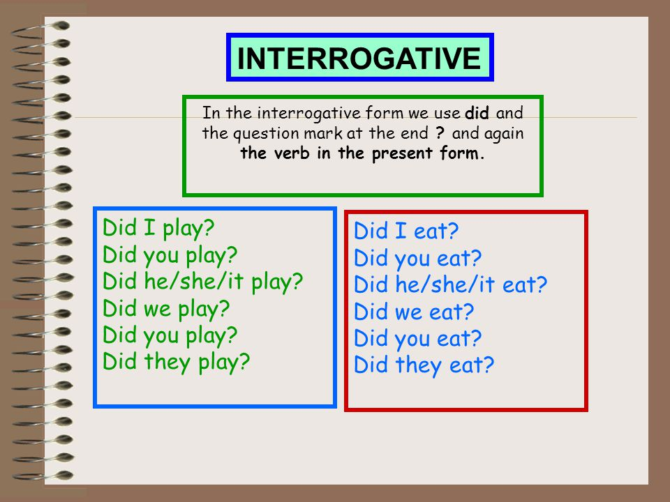 INTERROGATIVE Did I play Did I eat Did you play Did you eat