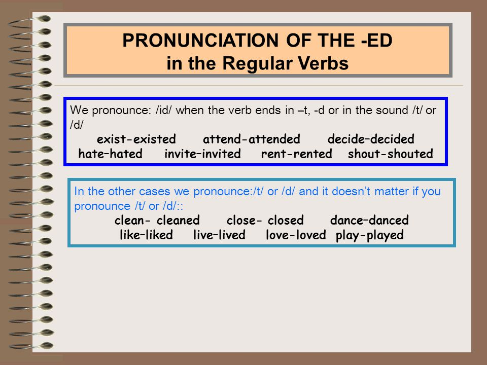 PRONUNCIATION OF THE -ED in the Regular Verbs